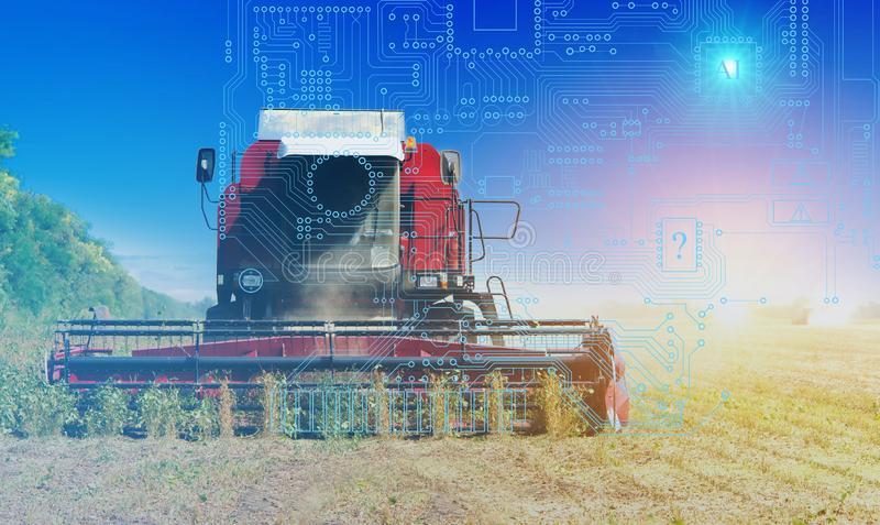 Combinez la gestion, la moisson et la préparation du sol utilisant l'intelligence artificielle, fond Futures technologies pour l' photographie stock libre de droits