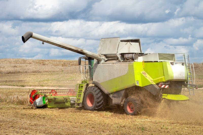 Combinez la moissonneuse sur le champ de blé moissonnant le grain Sc?ne agricole moisson images libres de droits