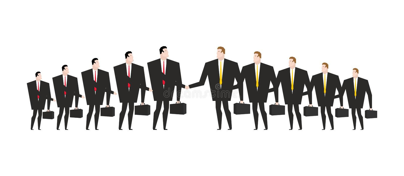 Combining corporations. Business deal. Merger. Managers shaking stock illustration
