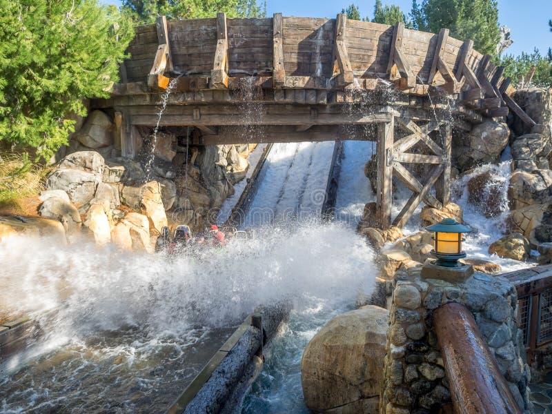 Combles appréciant la course grisâtre de rivière, parc d'aventure de Disney la Californie images stock