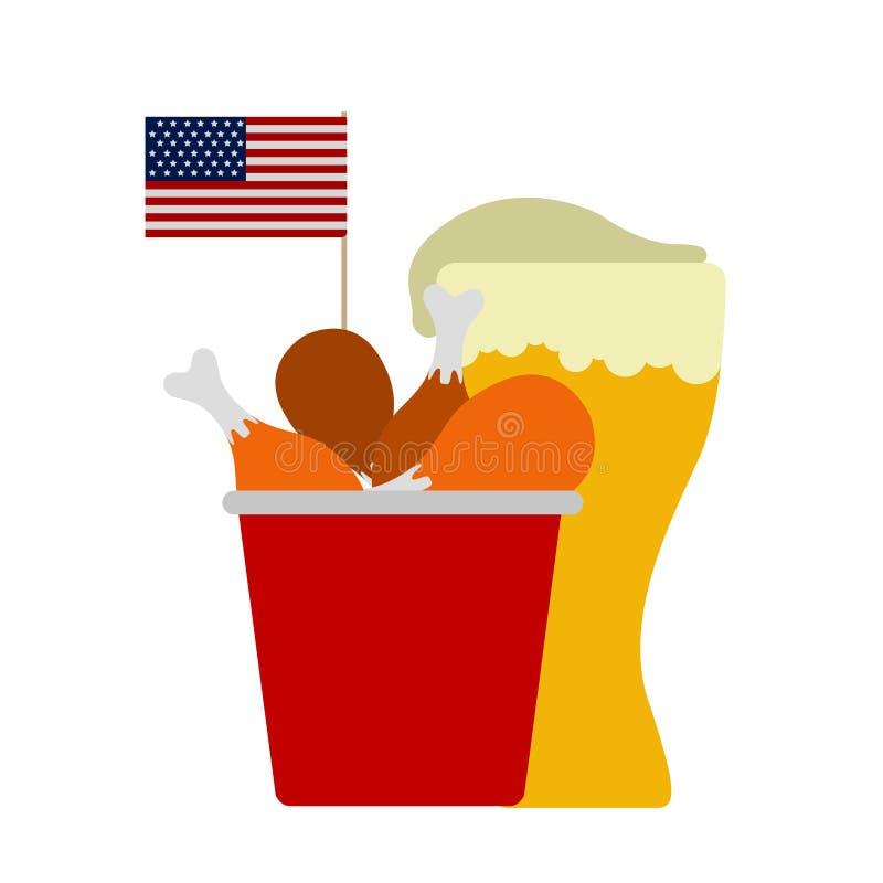 Combo του τηγανισμένου κοτόπουλου με ένα γυαλί μπύρας ελεύθερη απεικόνιση δικαιώματος