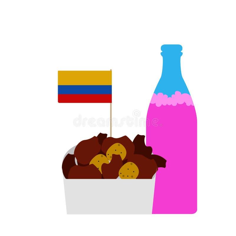 Combo Kolumbijski tradycyjny jedzenie z sodą royalty ilustracja