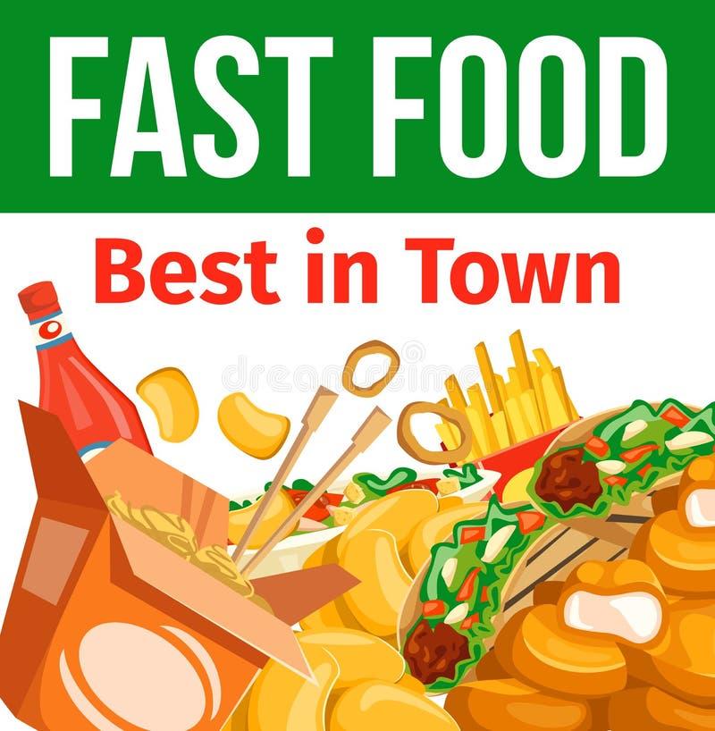 Combo posiłki, cukierniany bistro menu, takeaway fastfood ilustracja wektor