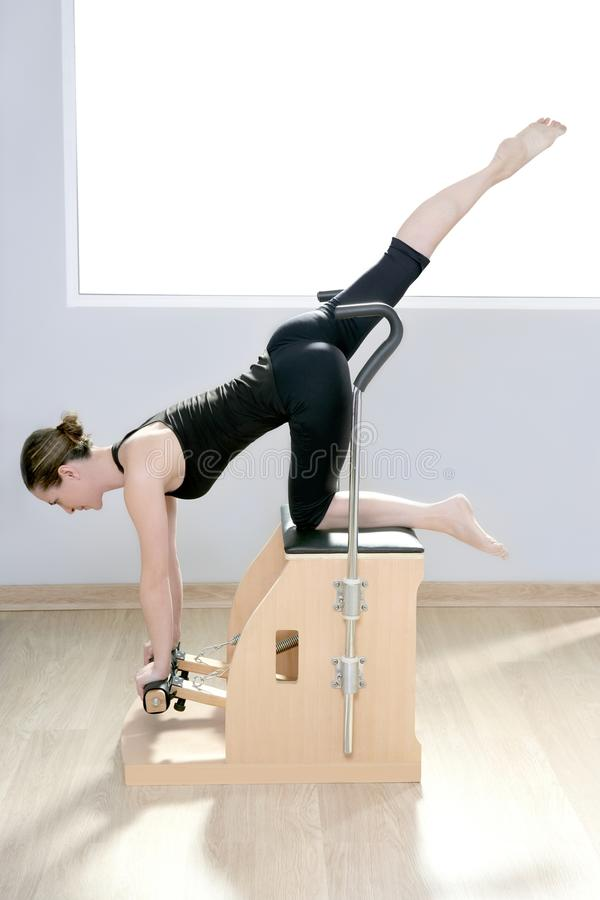 Free Combo Wunda Pilates Chair Woman Fitness Yoga Gym Royalty Free Stock Image - 18999086