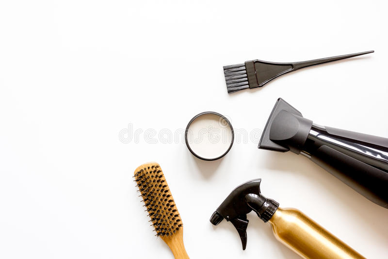 Combs and hairdresser tools on white background top view.  royalty free stock image
