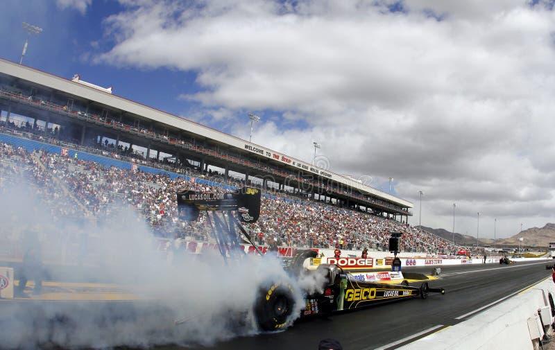 Combustível superior Dragsters na tira de Las Vegas foto de stock royalty free