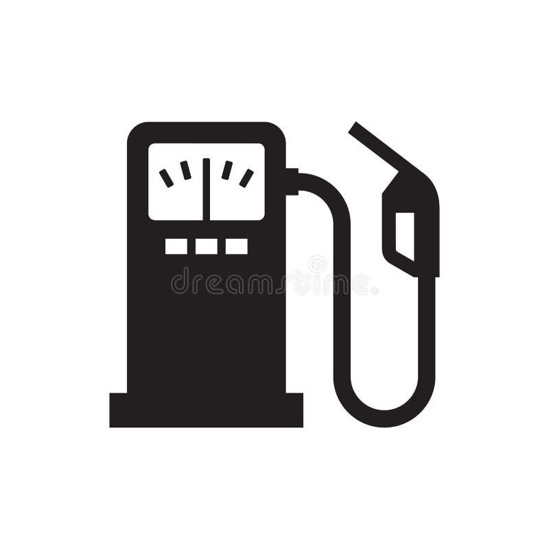 Combustibile - icona nera sull'illustrazione bianca di vettore del fondo Segno di concetto dell'estratto della stazione di serviz illustrazione vettoriale