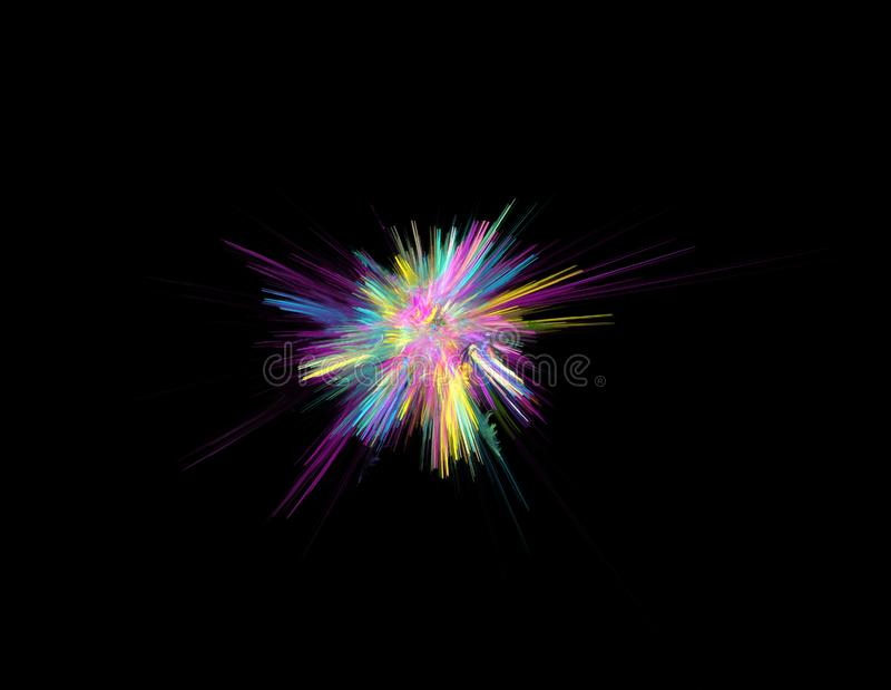 Combustion de couleur d'arc-en-ciel sur le fond noir, illustration de fractale illustration libre de droits