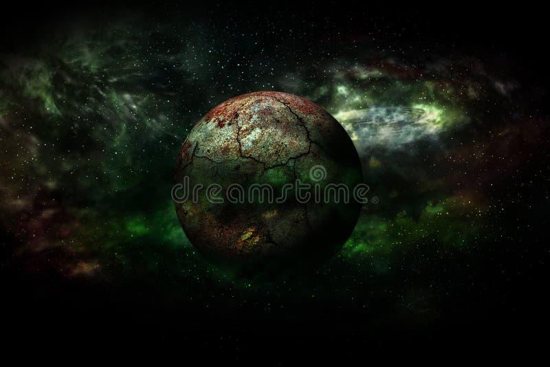 Combustione della terra dopo un disastro globale (elementi di questo rende 3d illustrazione di stock