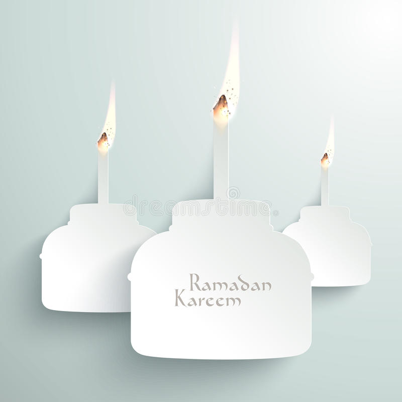 Combustione di Pelita della carta di vettore 3D (lampada a olio musulmana) immagine stock libera da diritti
