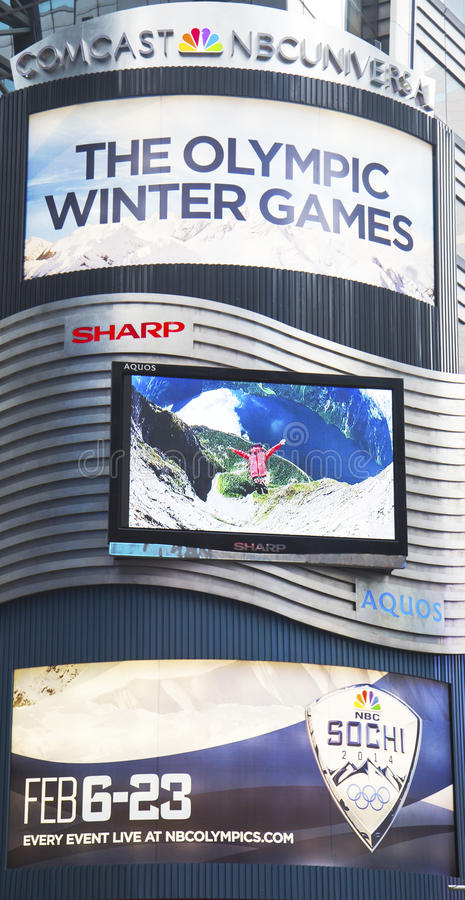 Download Comcast NBC Universal Billboard Decorated With Sochi 2014 XXII Olympic Winter Games Logo Near Times Square Editorial Stock Photo - Image: 37661633