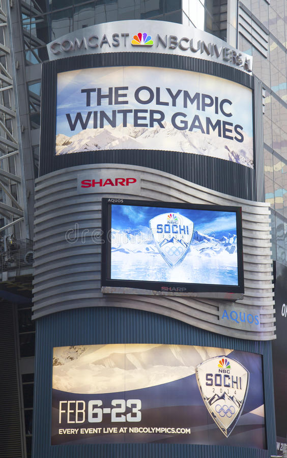 Download Comcast NBC Universal Billboard Decorated With Sochi 2014 XXII Olympic Winter Games Logo Near Times Square In Midtown Manhattan Editorial Photography - Image: 37221712