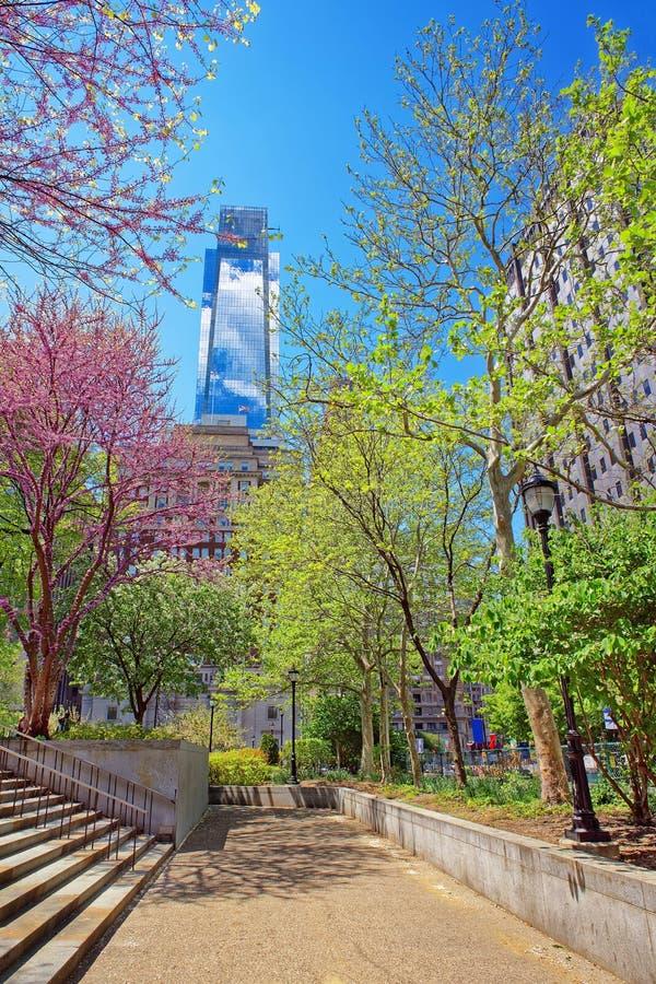 Comcast Ześrodkowywa drapacz chmur przeglądać od miłość parka w Filadelfia obraz royalty free
