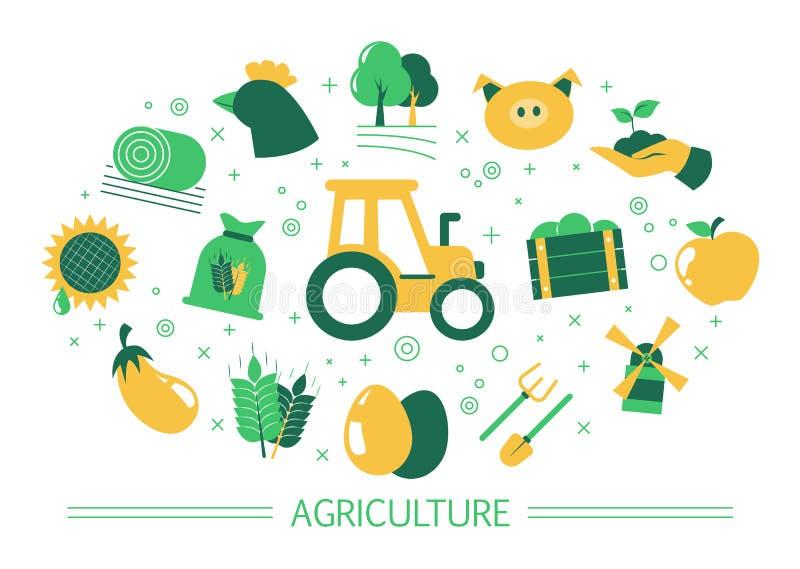 ??comcept 农厂和村庄生活想法  向量例证