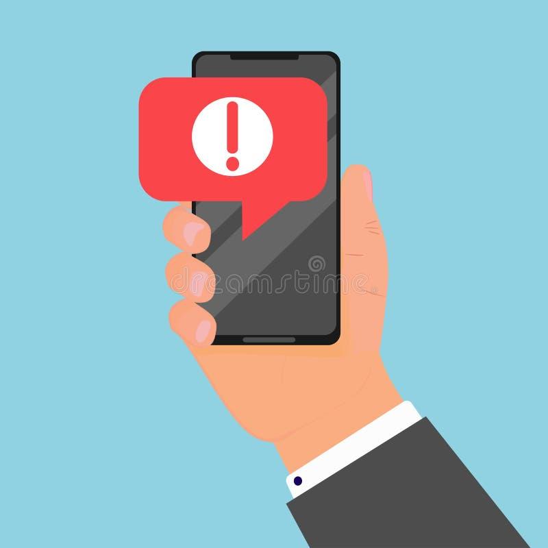 Comcept della notifica mobile del messaggio di avviso Allarmi di errore del pericolo, problema del virus in smartphone illustrazione di stock