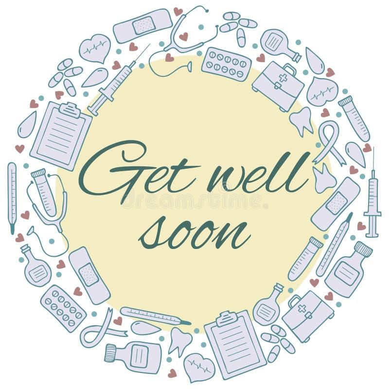 Começ logo o cartão bom Quadro com elementos médicos Backgr da medicina ilustração royalty free