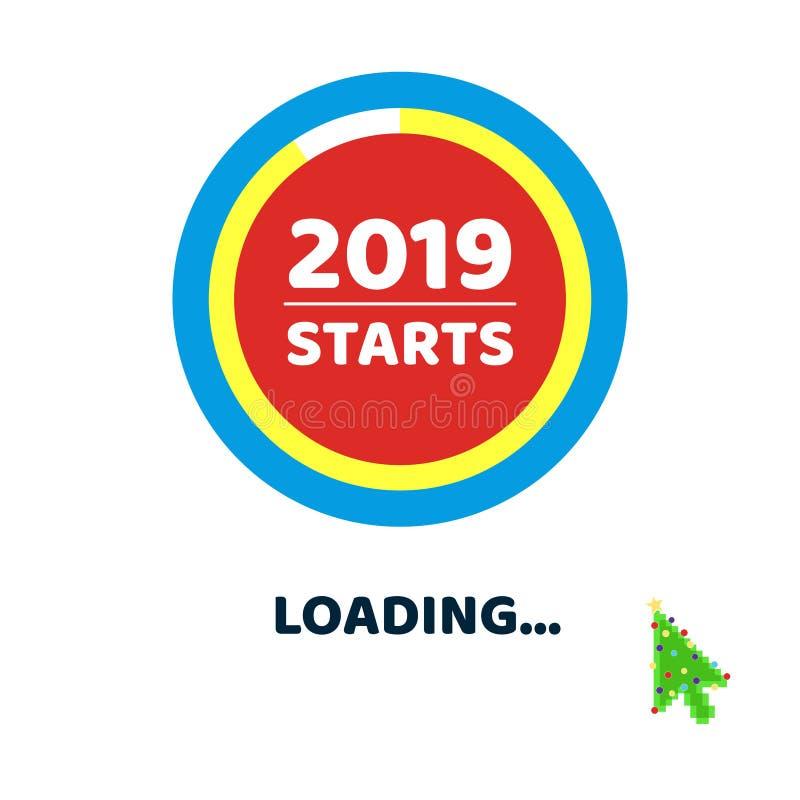 2019 começam quase carregar a página com o ponteiro do cursor da árvore de Natal do verde da seta ilustração stock