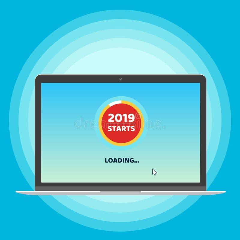 2019 começam quase carregar a página no ponteiro do portátil e do cursor Convite liso do projeto do estilo ao xmas ou ao cartão d ilustração stock