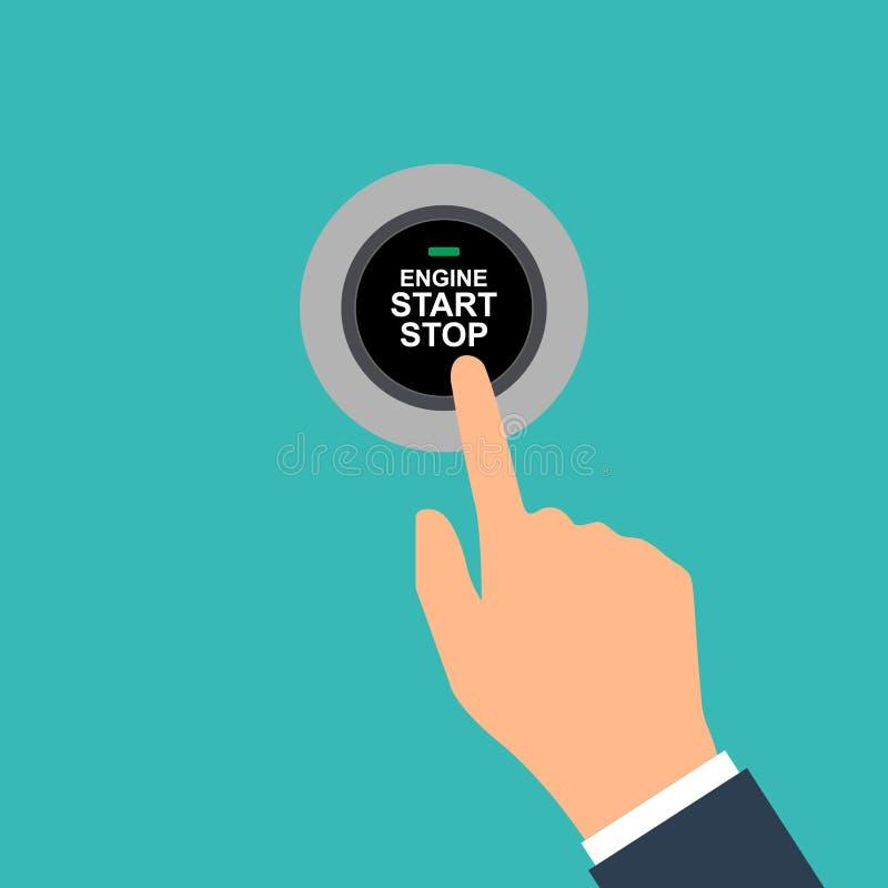 Começar de motor e parar o sistema Começo do motor A pessoa pressiona o dedo no botão do começo e de parada do carro ilustração royalty free