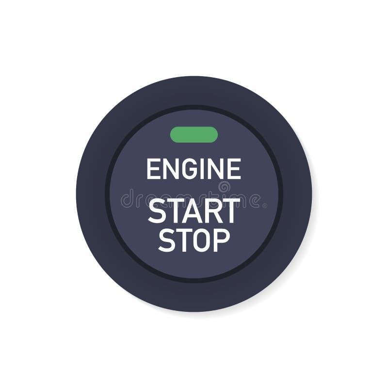 Começar de motor e parar o sistema Começo do motor A pessoa pressiona o dedo no botão do começo e de parada do motor do carro ilustração do vetor