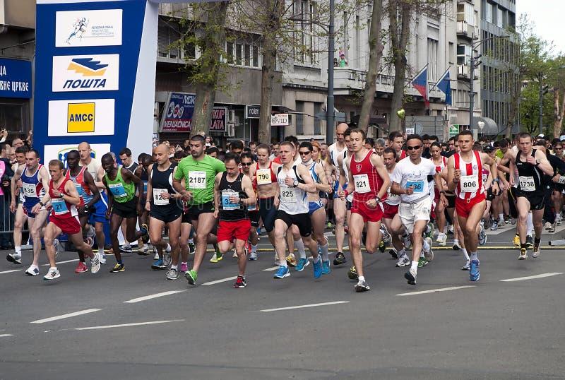 Começo Da Maratona Fotografia Editorial