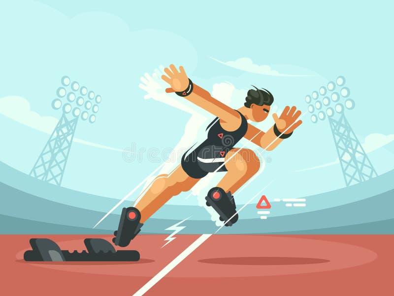 Começo da sprint do atleta ilustração stock