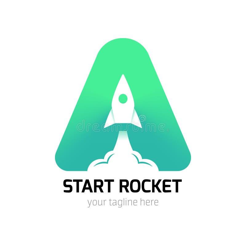 Começo vertical Rocket Logo ilustração do vetor