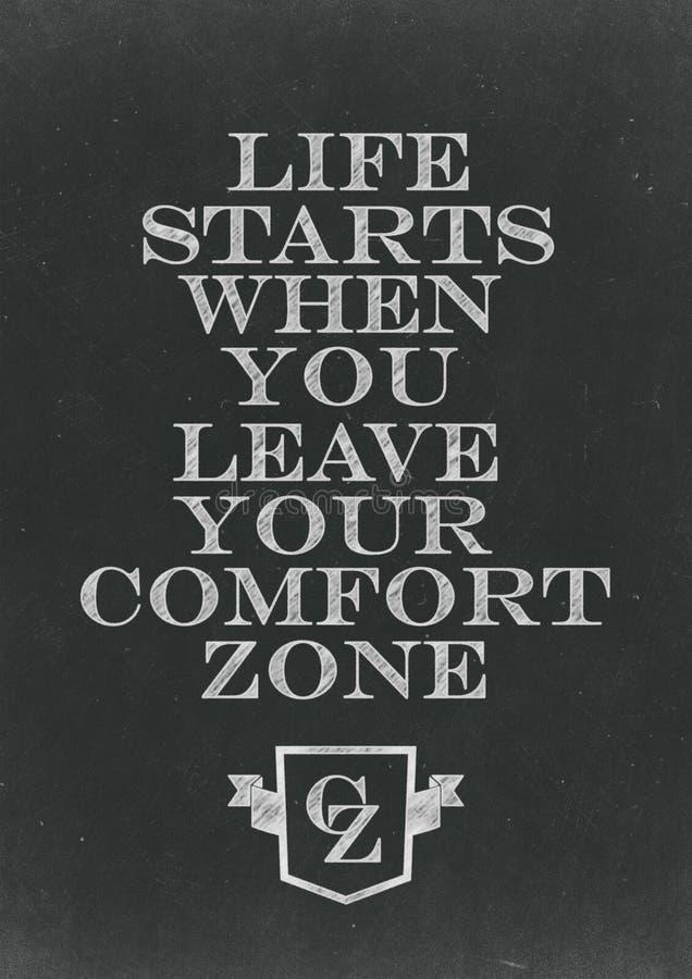 Começos da vida quando você deixar sua mão da zona de conforto escrita na A.A. foto de stock royalty free