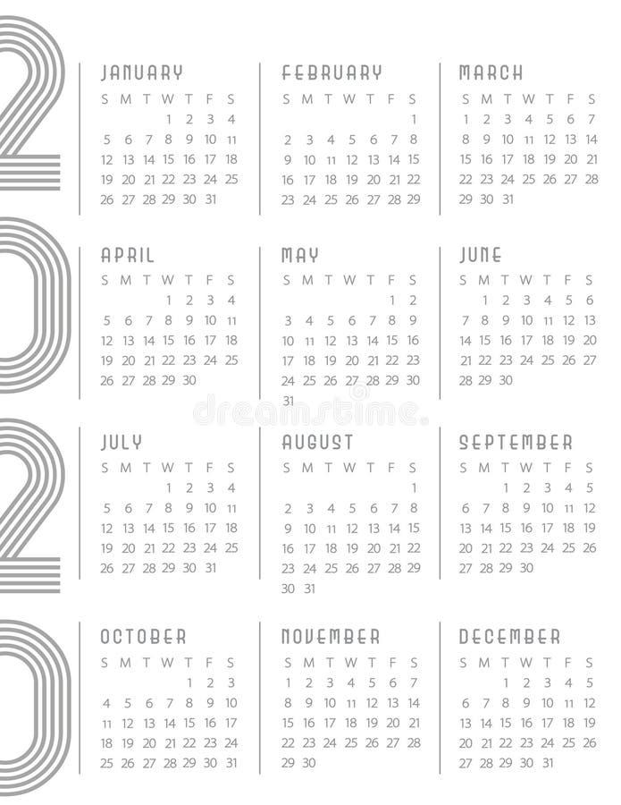 Começos 2020 do calendário em domingo Art Deco Whtie Gray moderno fotografia de stock royalty free