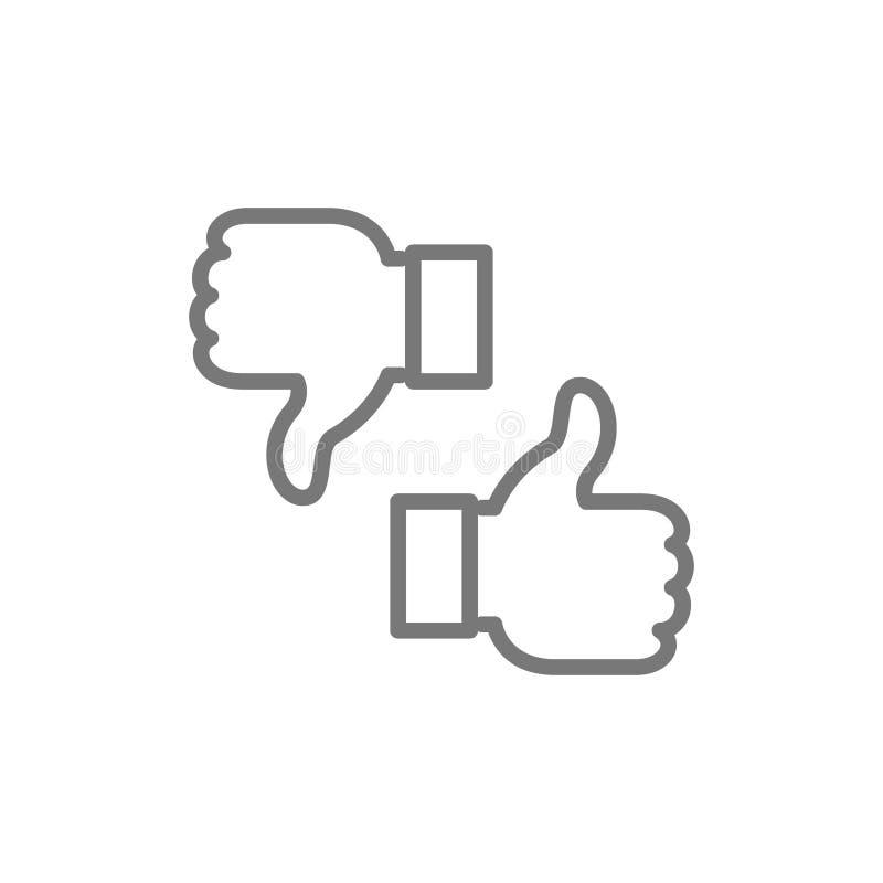 Come, avversione, pollici su e gi?, linea icona di risposte illustrazione di stock