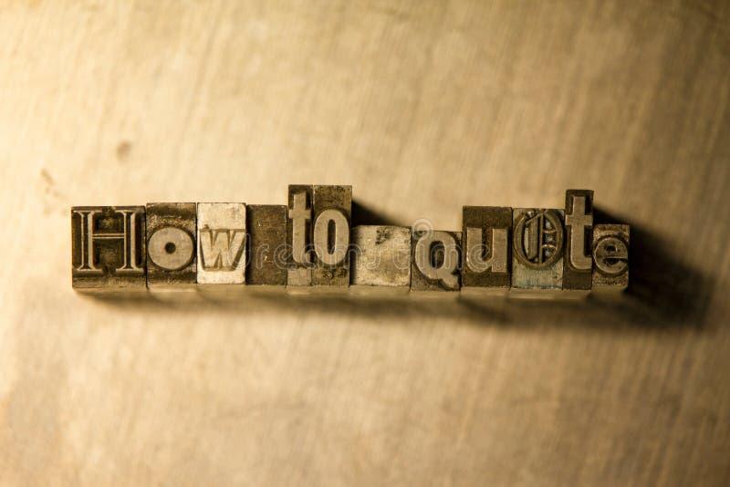 Come citare - Metal il segno dell'iscrizione dello scritto tipografico fotografia stock