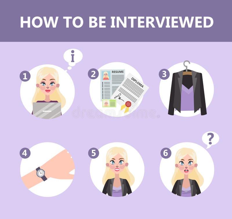 Come comportarsi in un'intervista di lavoro illustrazione di stock