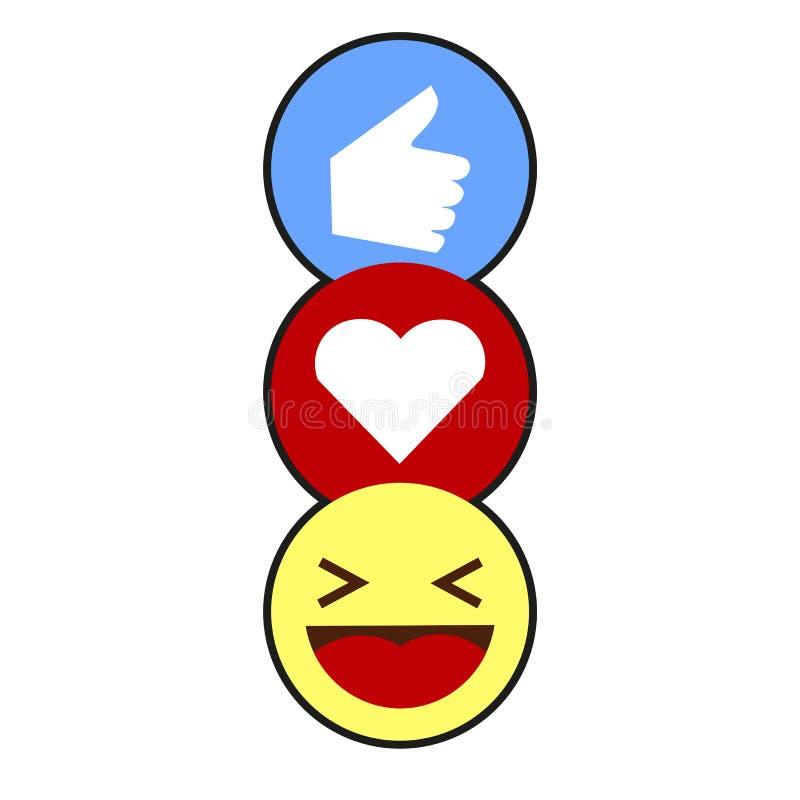 Come, cuore, risata Emojis immagine stock libera da diritti