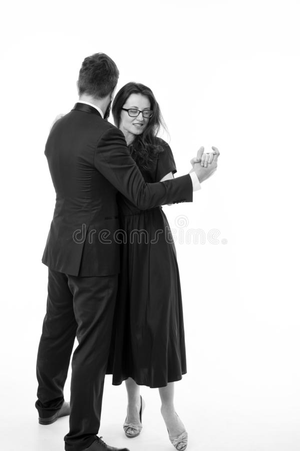 Come dance with me. Cultural entertainment. Couple in love romantic dance. Romantic evening date with dances. Dancing. Music. Couple formal elegant clothes stock images