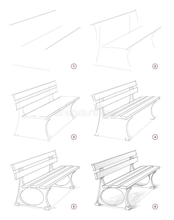 Come disegnare passo lo schizzo di una panchina immaginaria nel parco Creazione disegno a matita Pagina di formazione per artisti illustrazione di stock