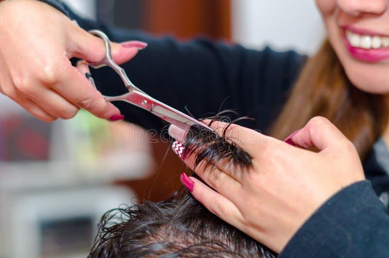 Come fare un taglio di capelli piacevole, capelli fra le dita e le forbici fotografia stock
