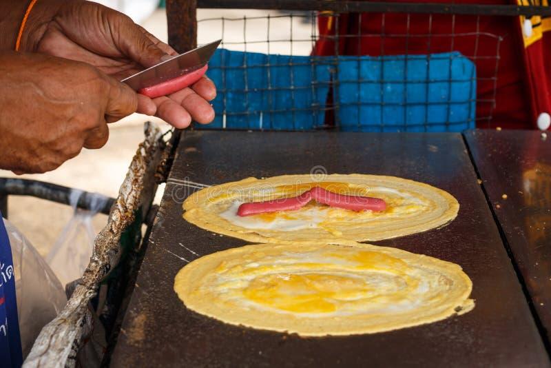 Come ha prodotto il dessert di KANOM TOKYO in Tailandia immagini stock libere da diritti