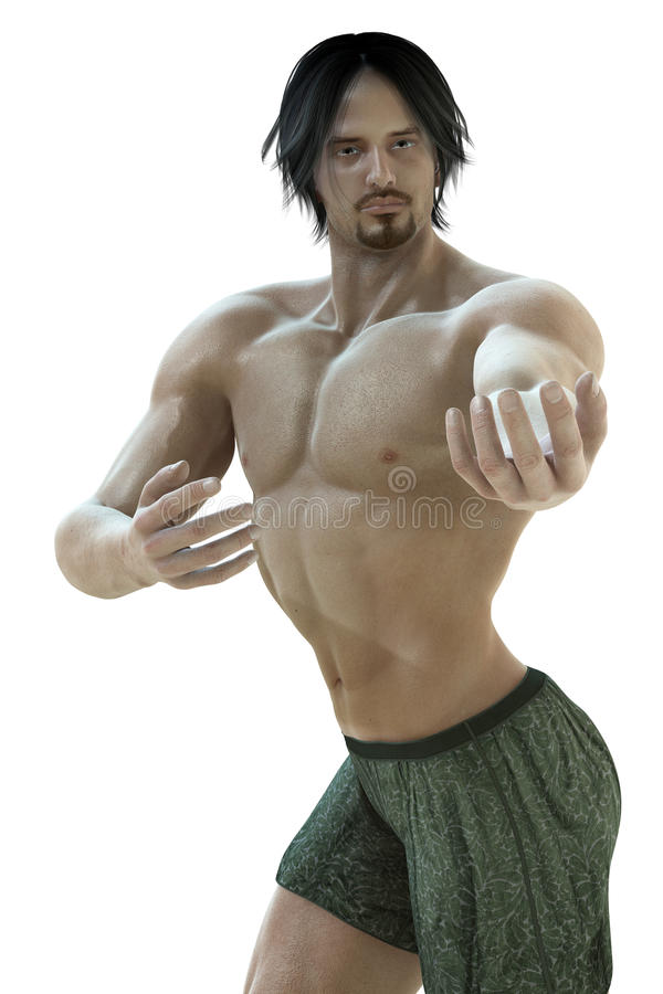 Come hither. A male model in a pose stock illustration