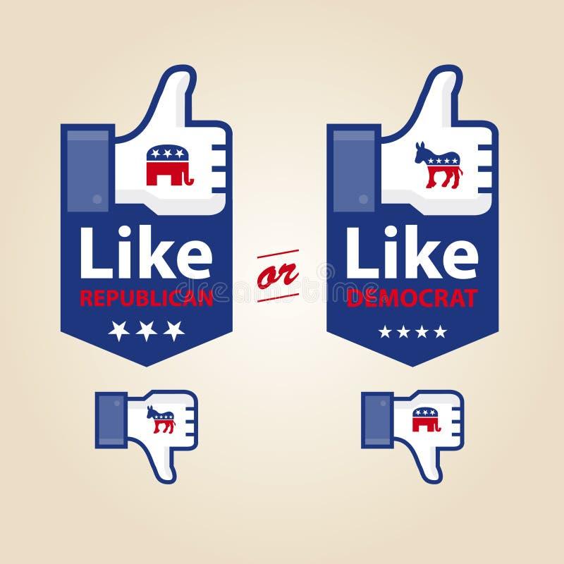 Come il repubblicano o la carbossimetilazione per presidenziale scelga illustrazione di stock