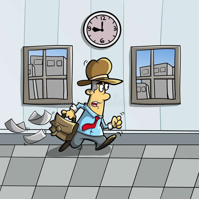 Come late. Illustration of someone who is in a hurry because of late