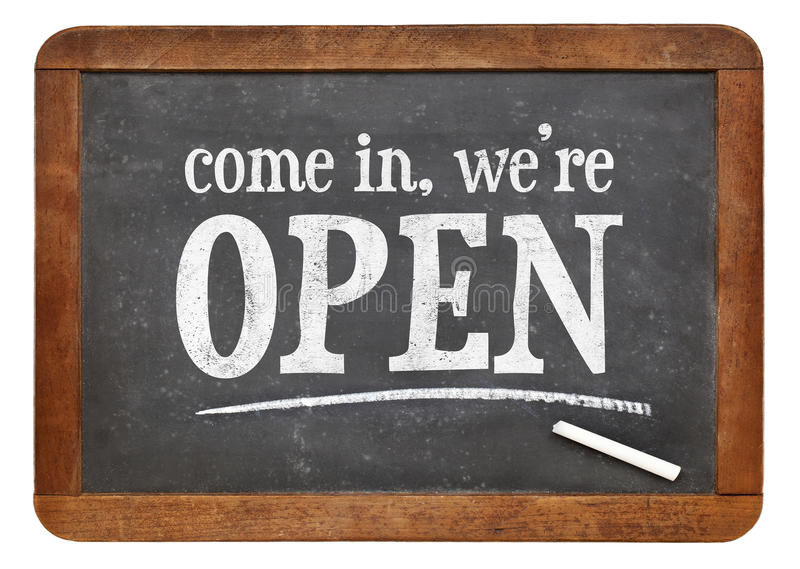 Come in, we are open blackboard sign stock image