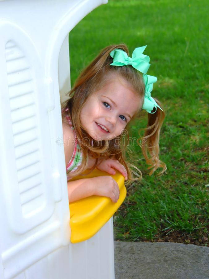 Come Play With Me in My Playhouse royalty free stock photo