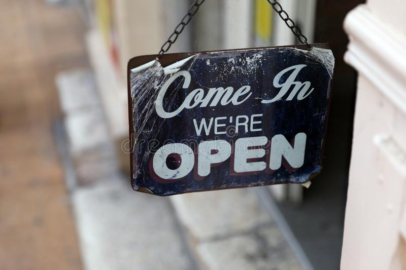 Come in We`re OPEN, Metal Tin Sign stock photo
