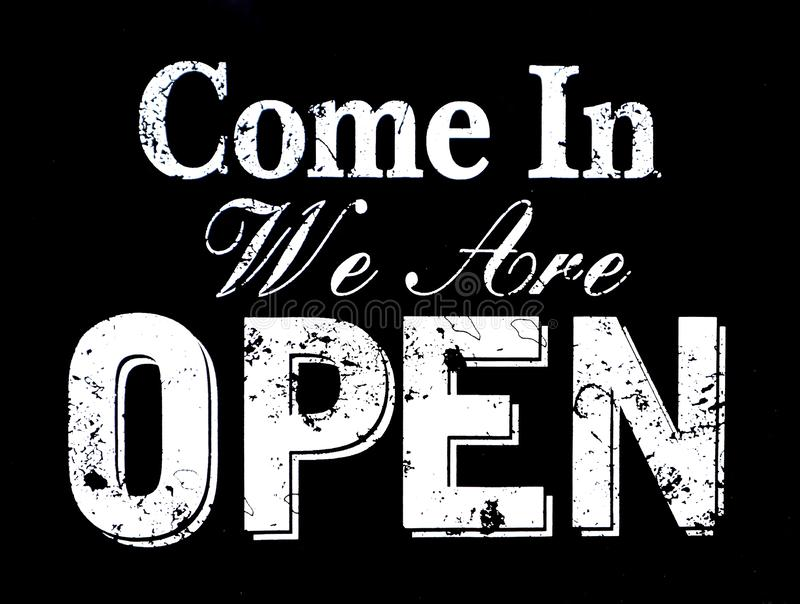 Come in we`re open, vintage black retro sign with the text in white color stock illustration