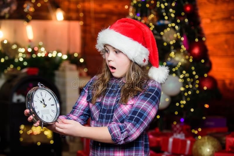 Come Santa Clause and don t delay. Happy new year. Xmas gift for little girl. Little girl celebrate xmas. New year. Holiday. Little girl. Xmas holiday. Santa royalty free stock photos