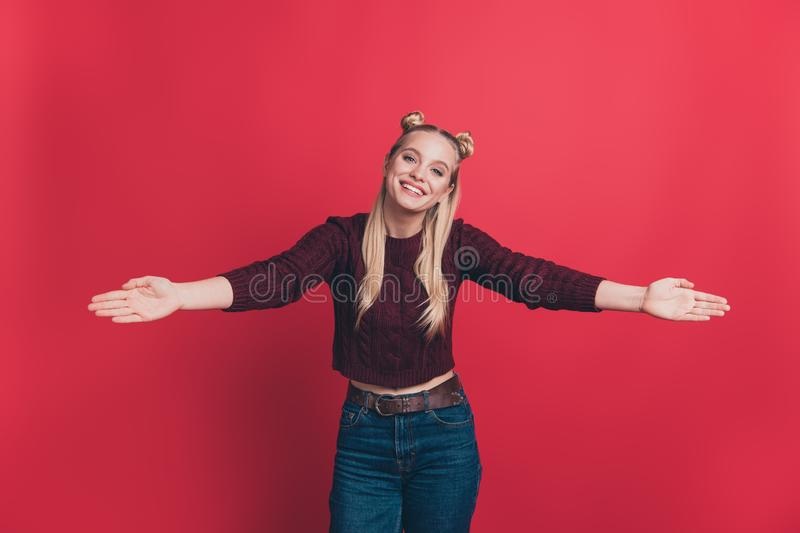 Come to me my dear. Photo of pretty attractive gorgeous nice glad hipster girl want to hug you wearing denim pants stock photography
