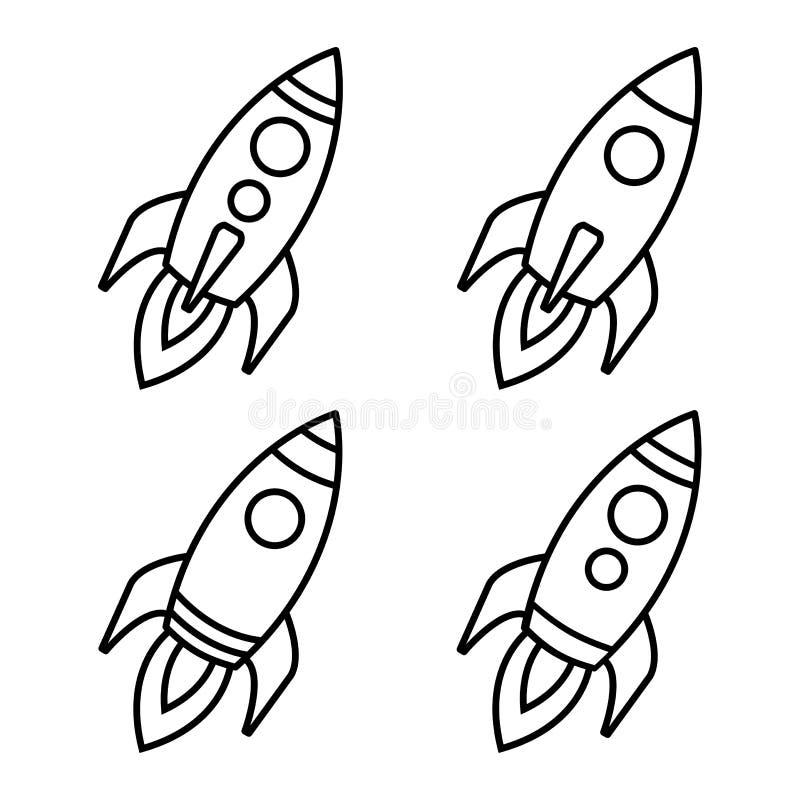 Comece acima Ajuste dos ?cones do foguete Rocket Launch Projeto do esbo?o Ilustra??o do vetor ilustração do vetor
