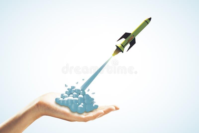 Comece acima o conceito do foguete fotografia de stock royalty free