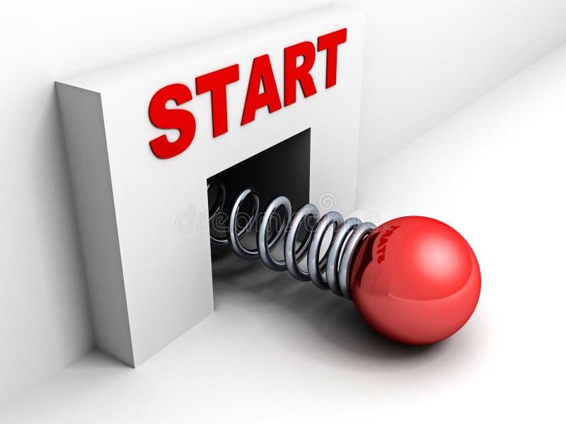 Comece acima o conceito do negócio com esfera vermelha ilustração stock