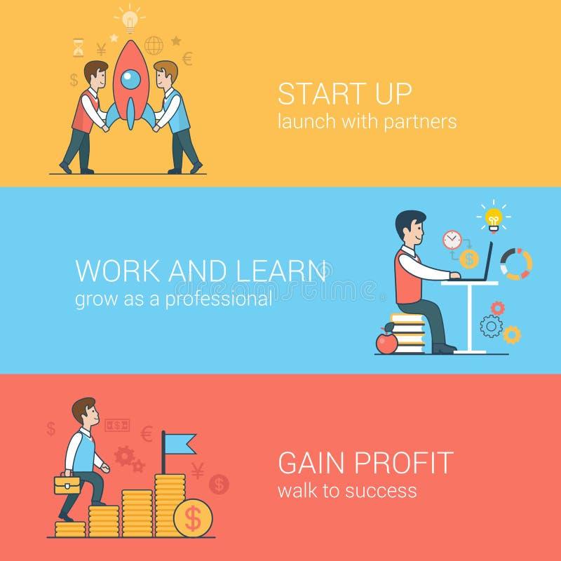Comece acima, trabalhe e aprenda, ganhe o vec liso da Web do lucro ilustração royalty free